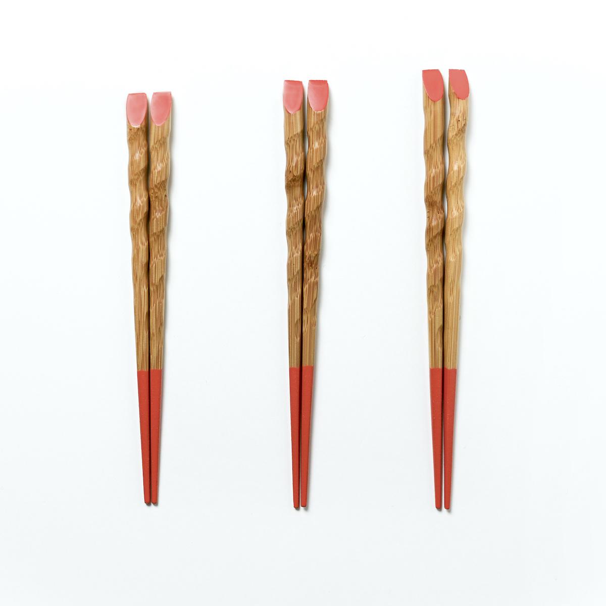 きみの箸 竹箸 柿 三膳セット