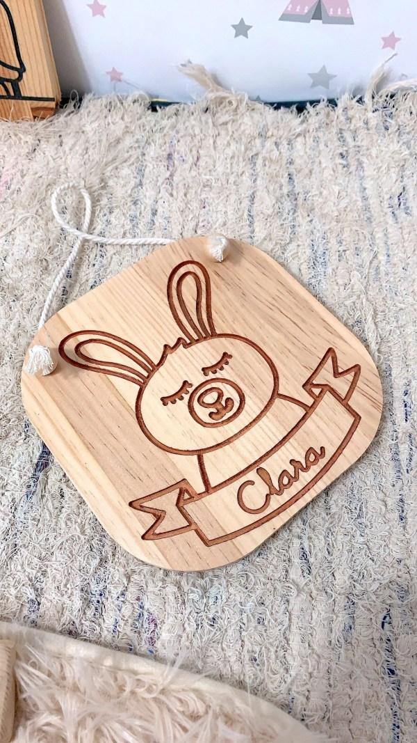 conejo grabado madera