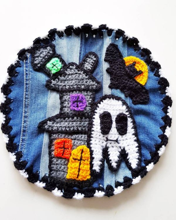 denim upcycled halloween patch