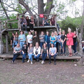 Ranchers on a treehouse at Camp Waldemar