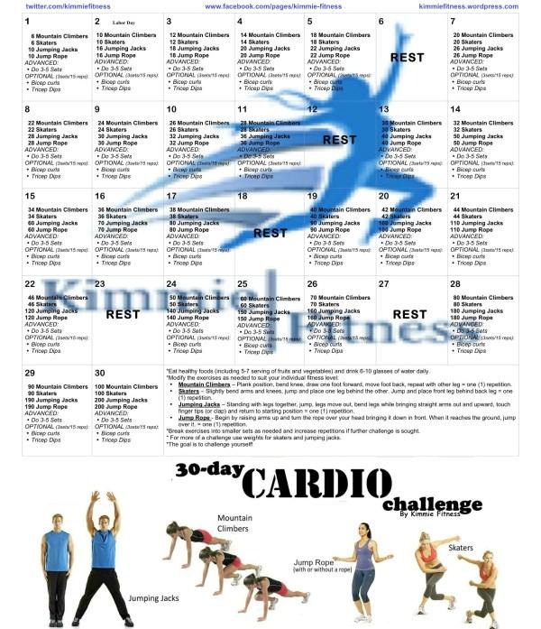 30 Day Cardio Challenge kimmiefitness