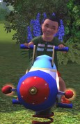 Logan Harvey as toddler on a rocket!