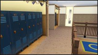 First floor corridor with lockers.