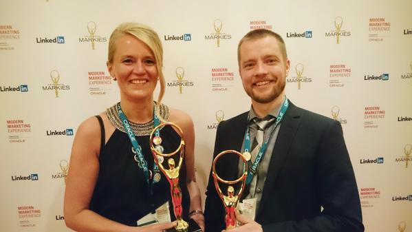 Mika Autio Ruukki and Milla Ikonen Eloqua Markies Award Ceremony