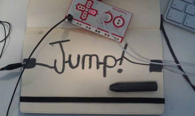 image of moleskine jump button and MaKey MaKey