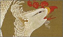 老松鳳凰図の鳳凰の顔アップ