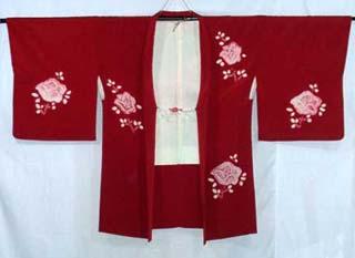 Deep Red Shibori Haori