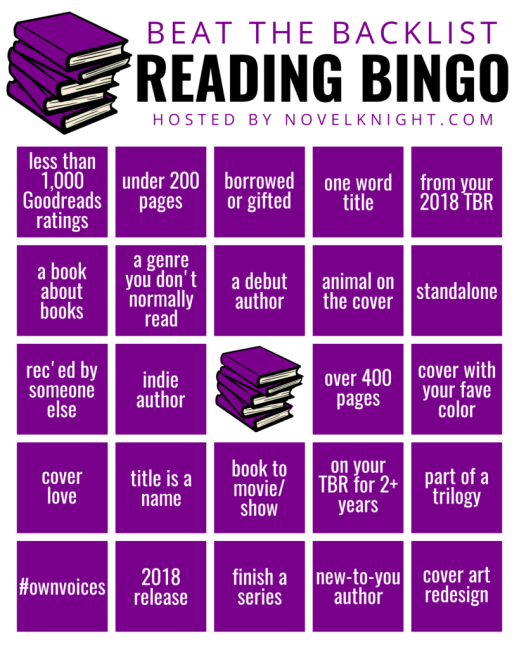 Beat the Backlist Reading Challenge by Novelknight, Bingo Card