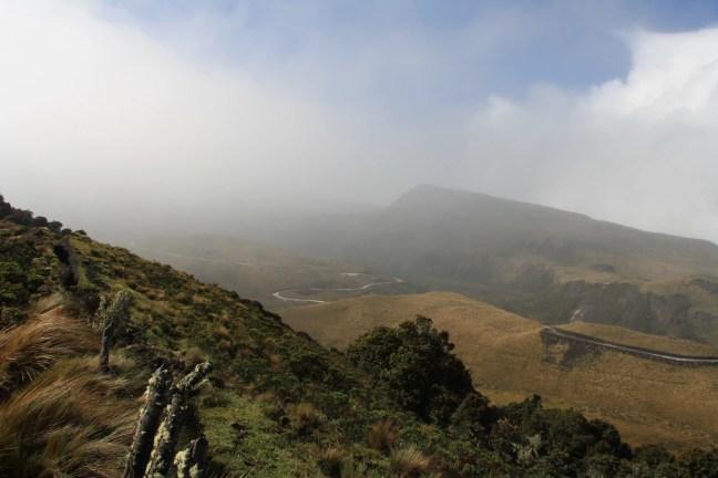 Slecht weer op komst op vulkaan Puracé in Colombia