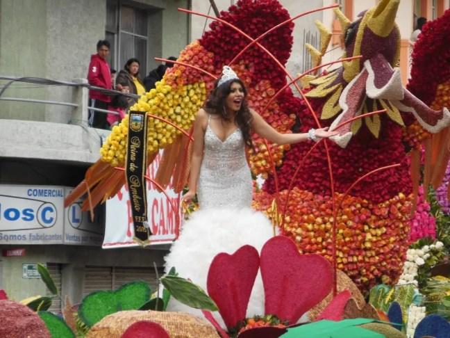 Carnavalskoningin op een mooi versierde praalwagen