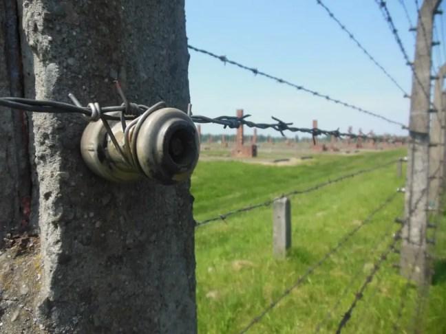 Prikkeldraad hekken rondom Birkenau