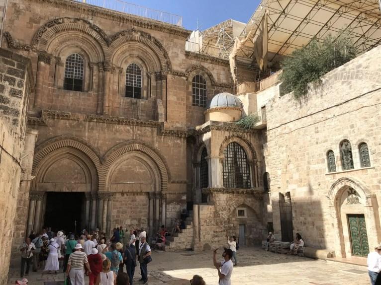 Ingang van de Heilig Grafkerk, Jeruzalem.