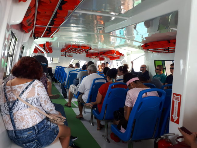 In de San Pedro Belize Express Water Taxi.