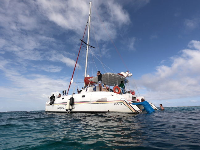 De Raggamuffin catamaran vanuit het water