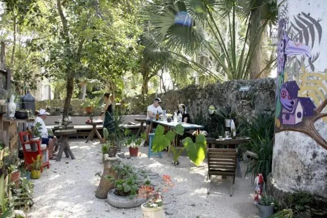 De binnentuin van het Chan Cafe.