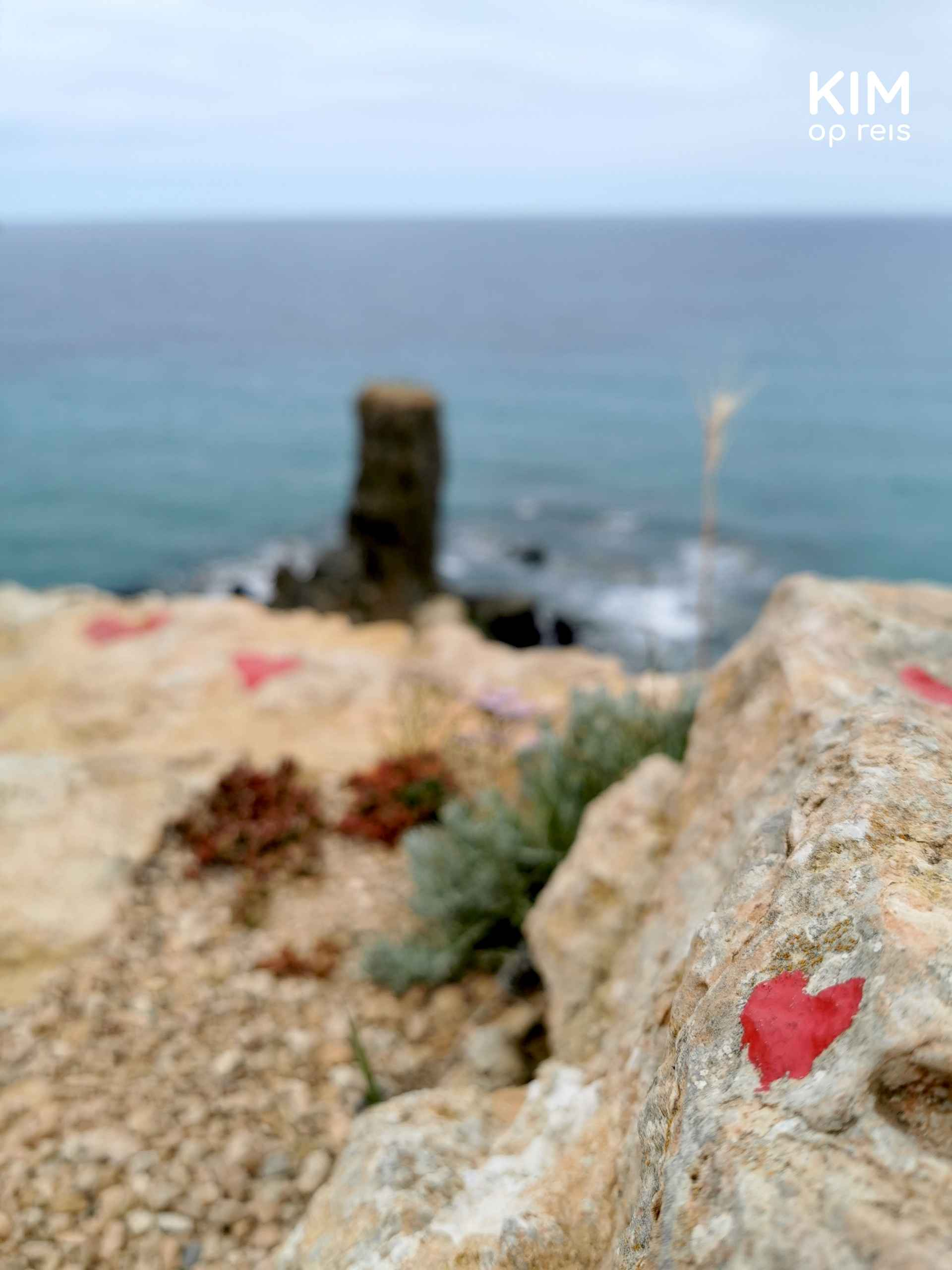 Paller des Camp heart: red hearts drawn on a rock with Pall . in the backgrounder des Camp