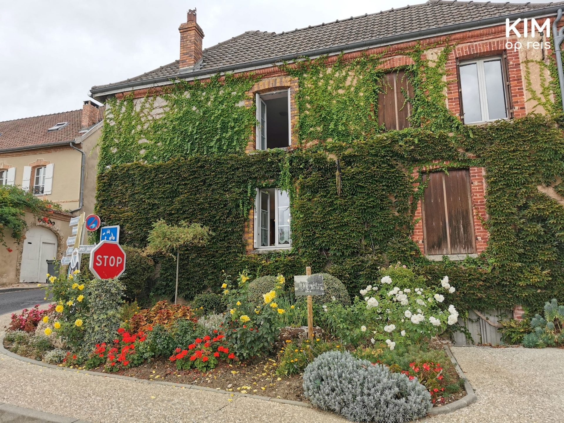 Champagnestreek Hautvillers: begroeid huis met enkele luiken