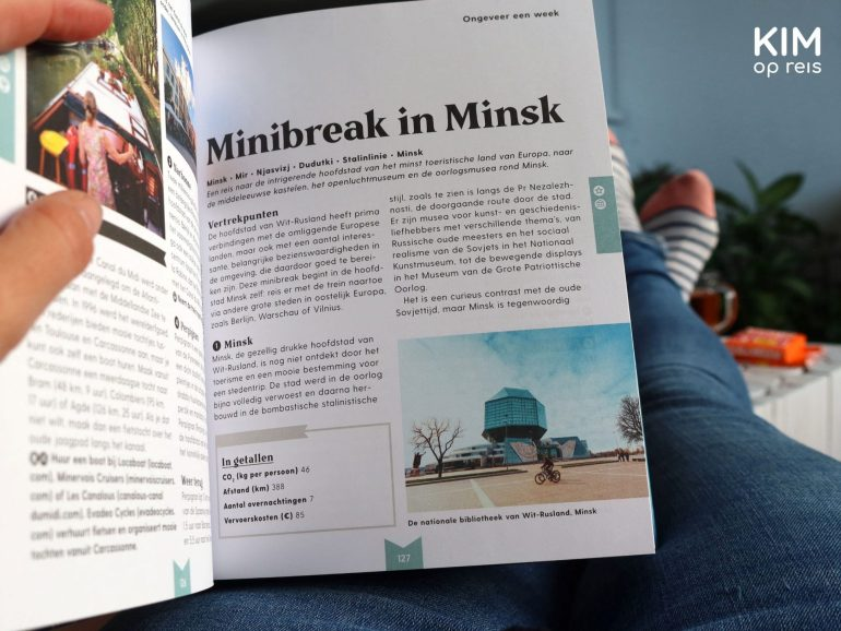 Book tip Gift tip 80 sustainable trips / Low Carbon Europe: book open on a Mini-break in Minsk