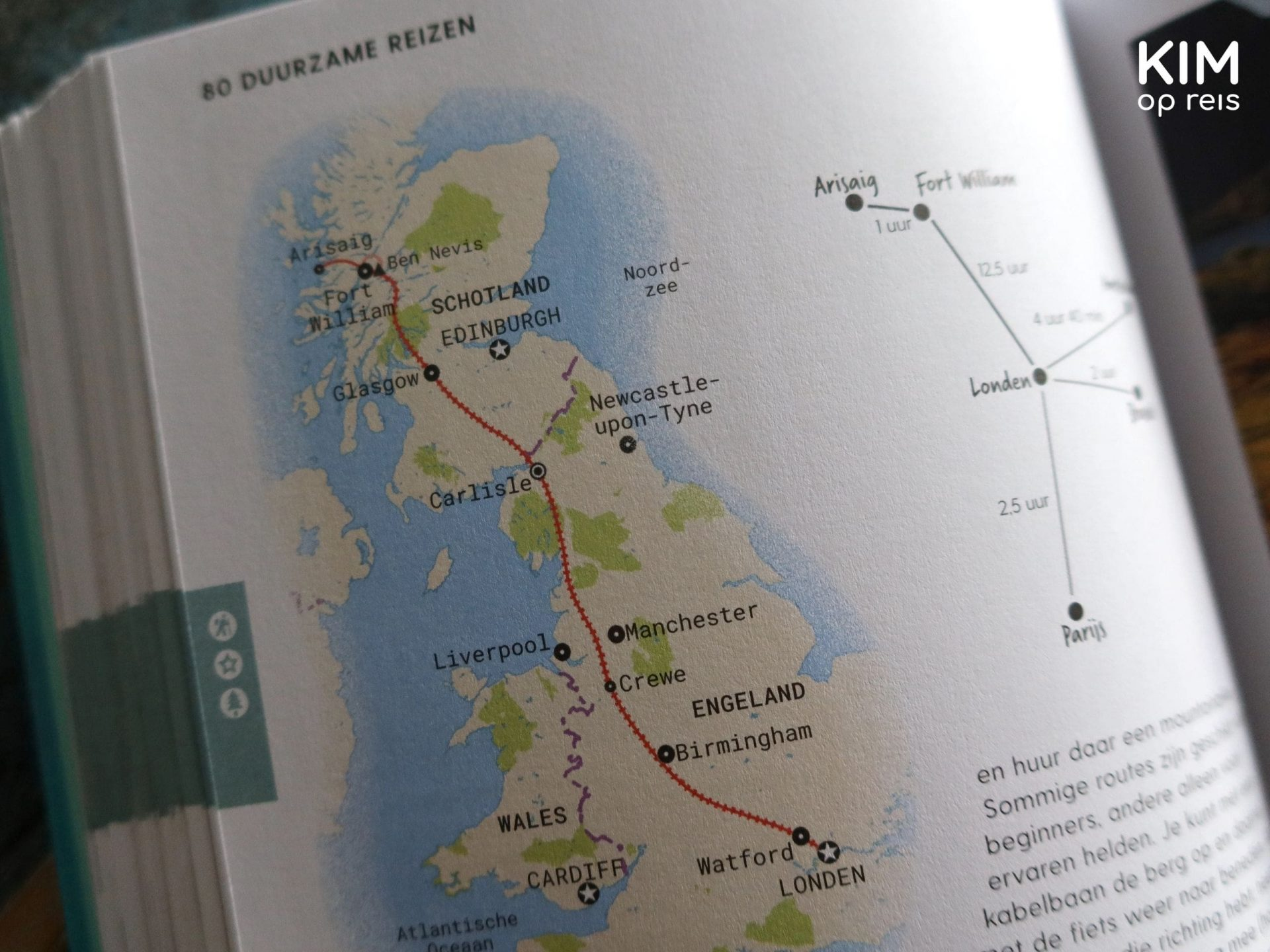 Sustainable route: map of a trip through Scotland and England.