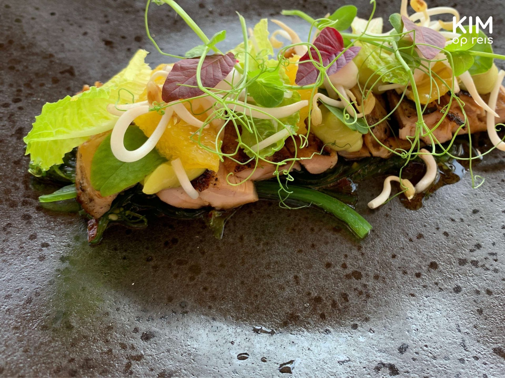 Baoase restaurant Curaçao: work of art of food on a gray plate