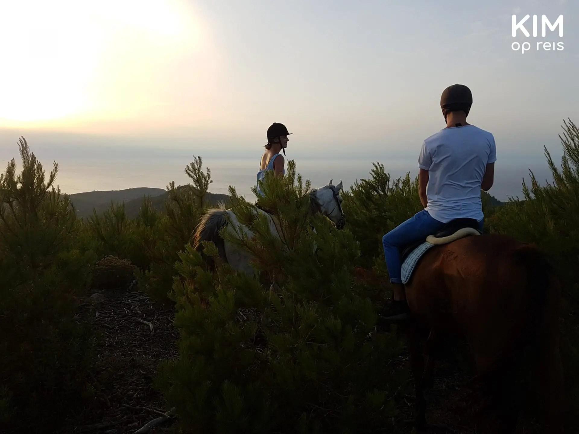 Paarden Ibiza zonsondergang - Op het hoogste punt van het eiland zien we de zon ondergaan.