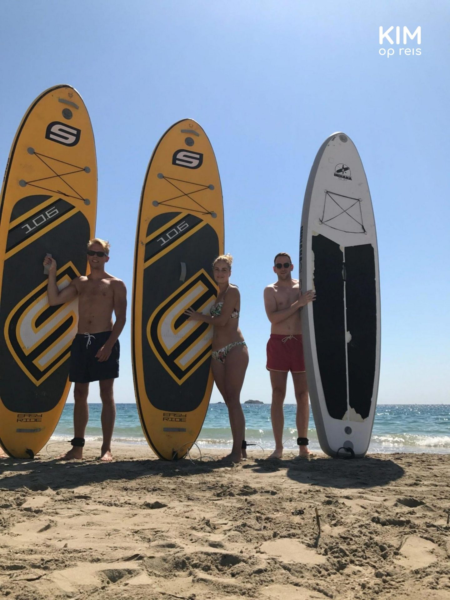 Posing with the SUP boards - 3 people are standing on the beach next to their SUP board