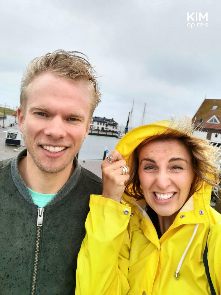 Texel rain activities - Kim and Patrick look into the camera visibly affected by the rain