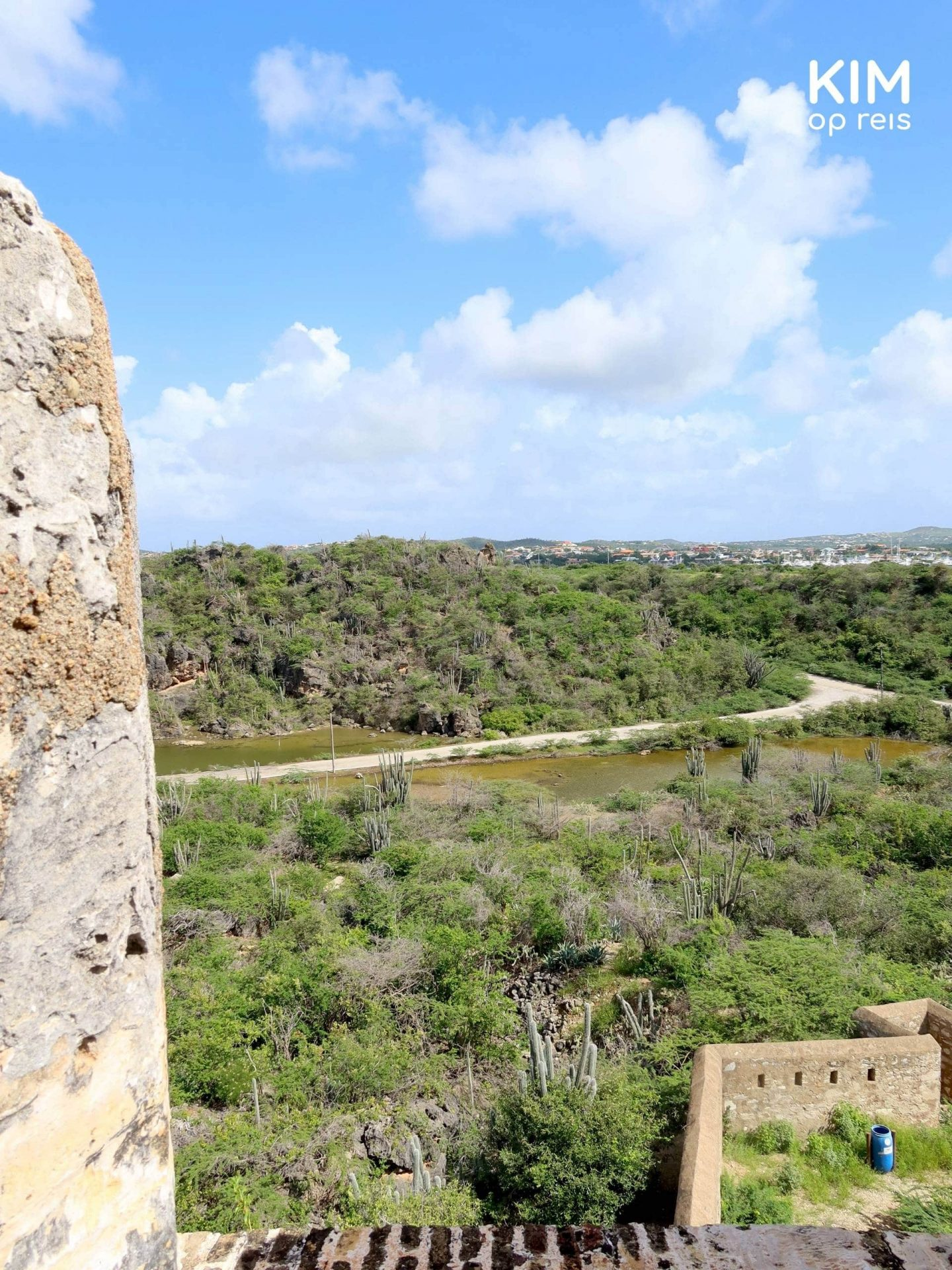 Uitzicht Fort Beekenburg Curaçao: vanaf de hoogte kijk je over een groen, droog landschap