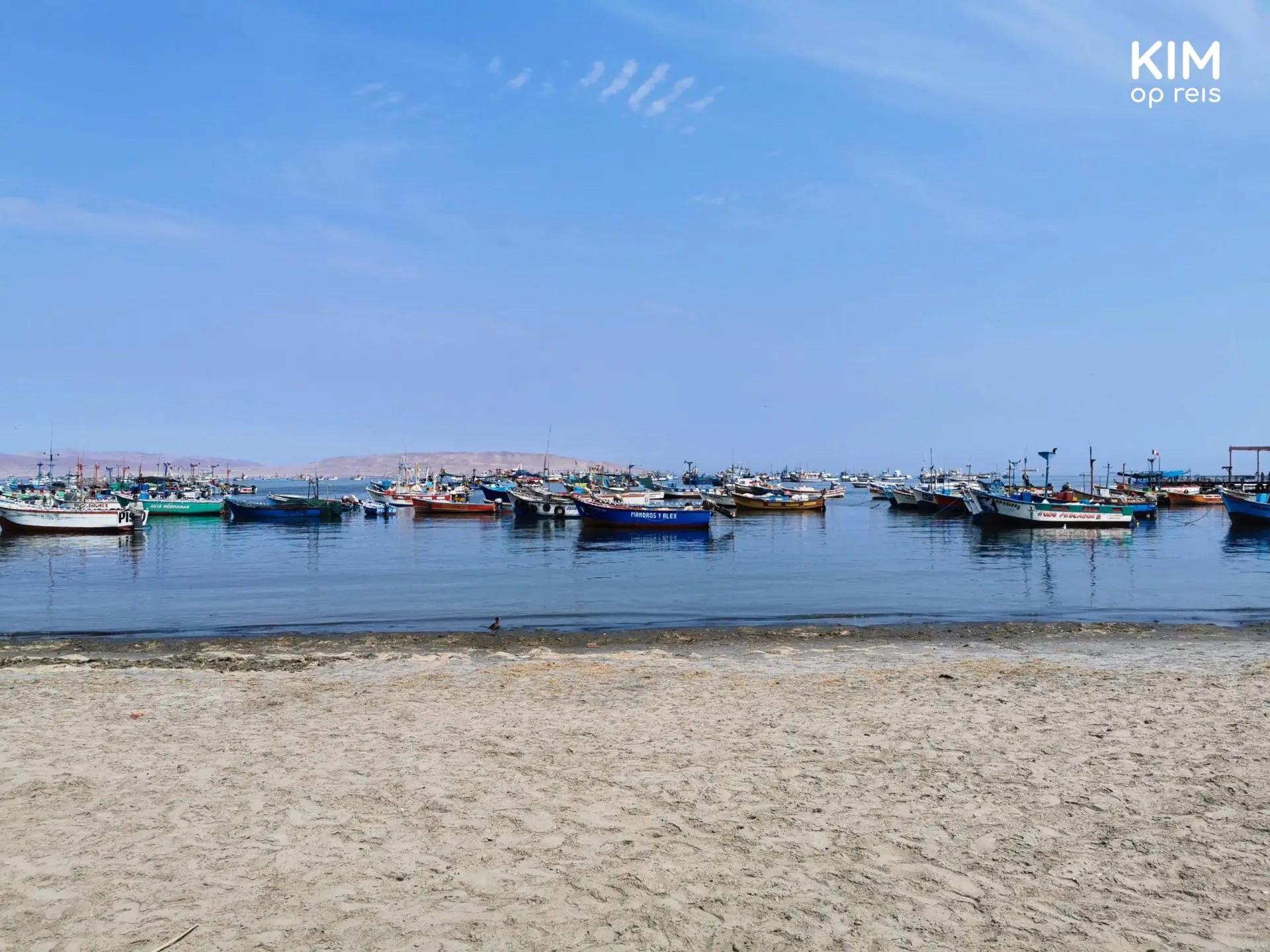 Vissersbootjes voor de kust in Paracas