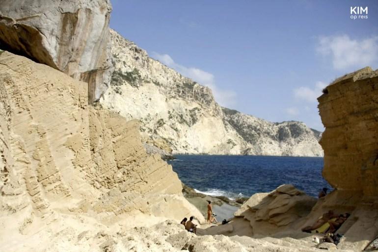 Sunbathing at Atlantis - some people sunbathing among the rocks of Atlantis