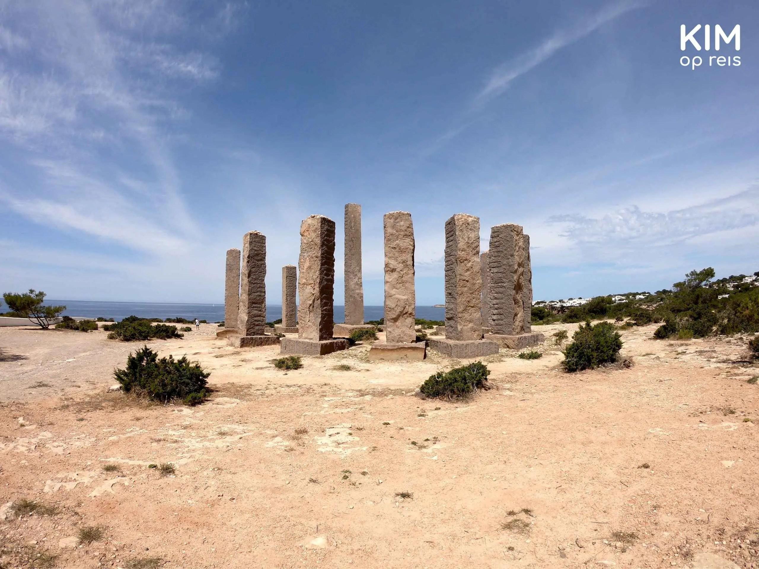 Hidden Ibiza Stonehenge: large pillars in dry ground
