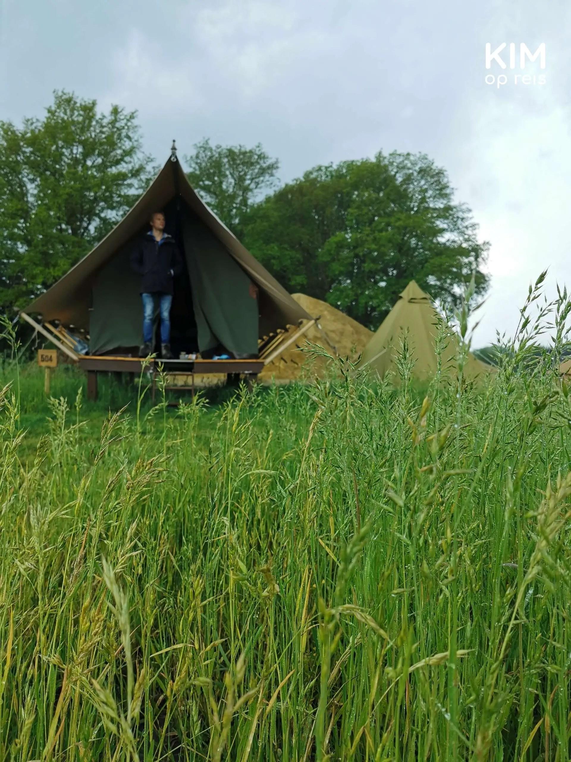 Awajitent glamping Bij de Buren: man staat in het tentje, op de voorgrond veel gras