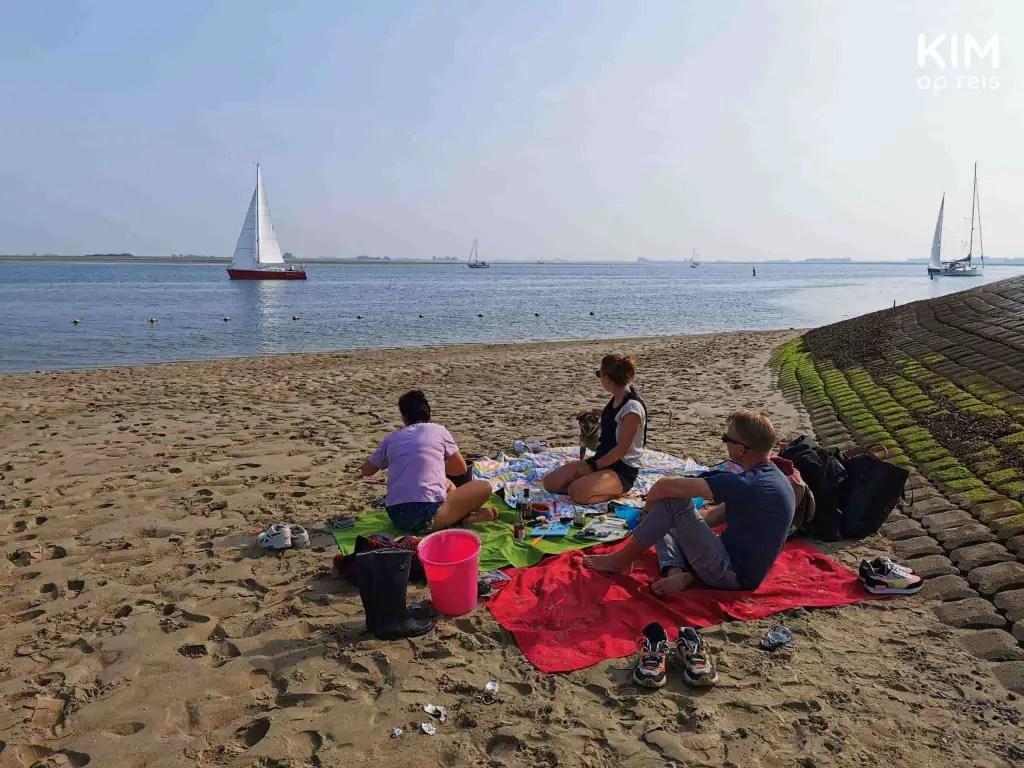 Oesters rapen Zeeland St Annastrand: groepje mensen zit op kleedjes op het strand, in de verte vaart een zeilboot voorbij
