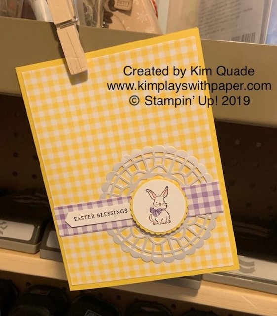 Stampin' Up! Gingham Gala Designer Series Paper, A Good Day, Easter, Pearlized Doily, Itty Bitty Greetings