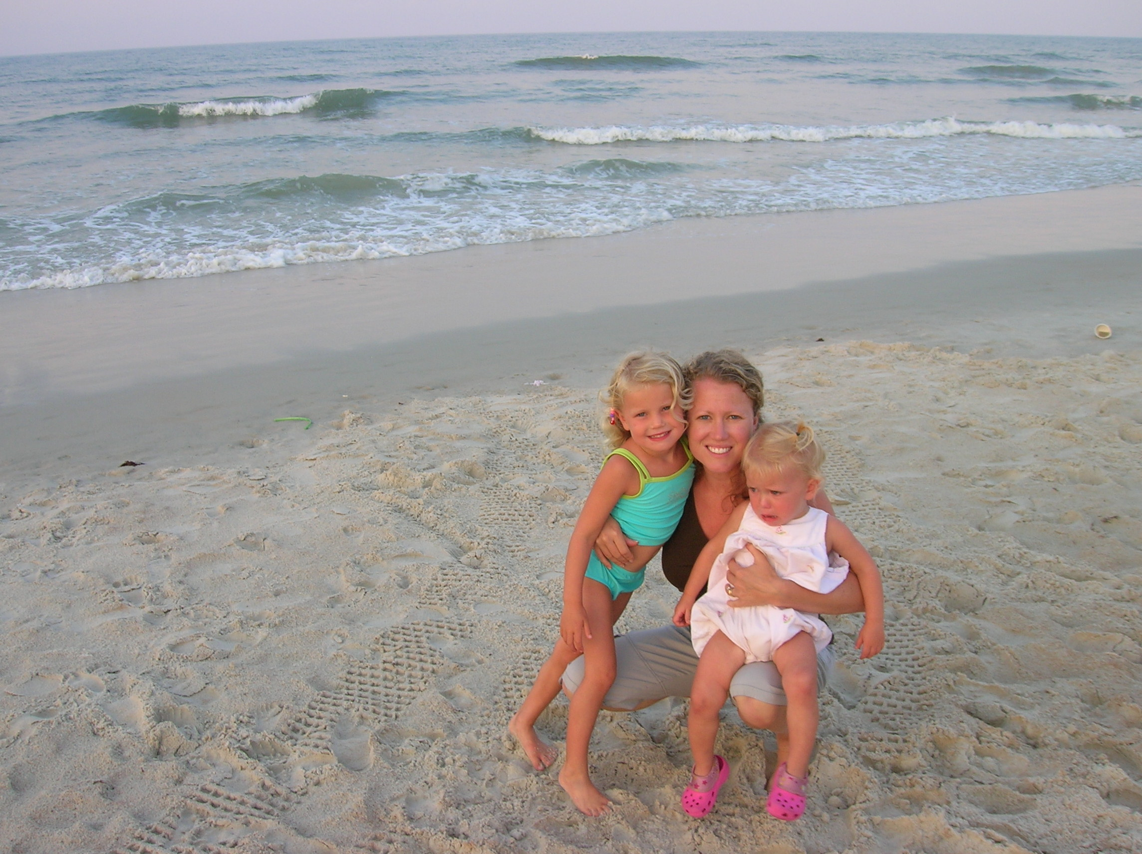 Love the Beach and My girls.  Izzie still not sure of the beach.
