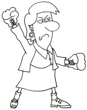 Mean woman with boxing gloves