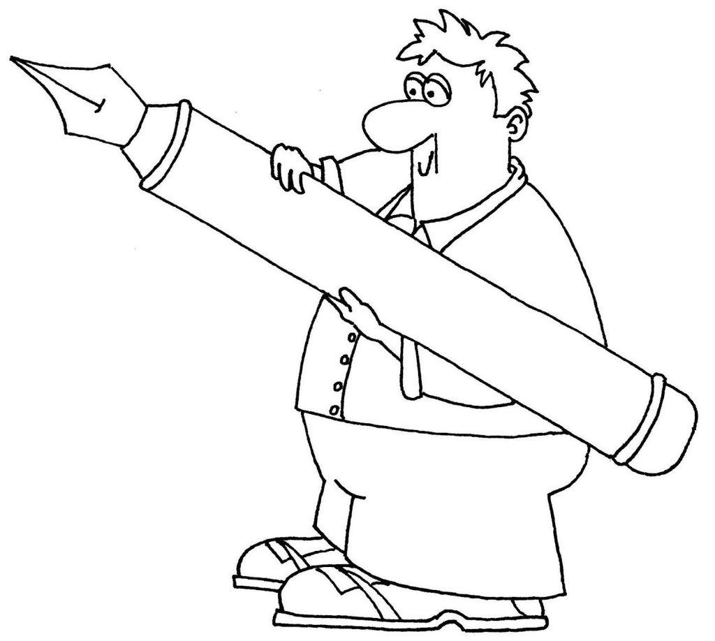 cartoon of man with large pen