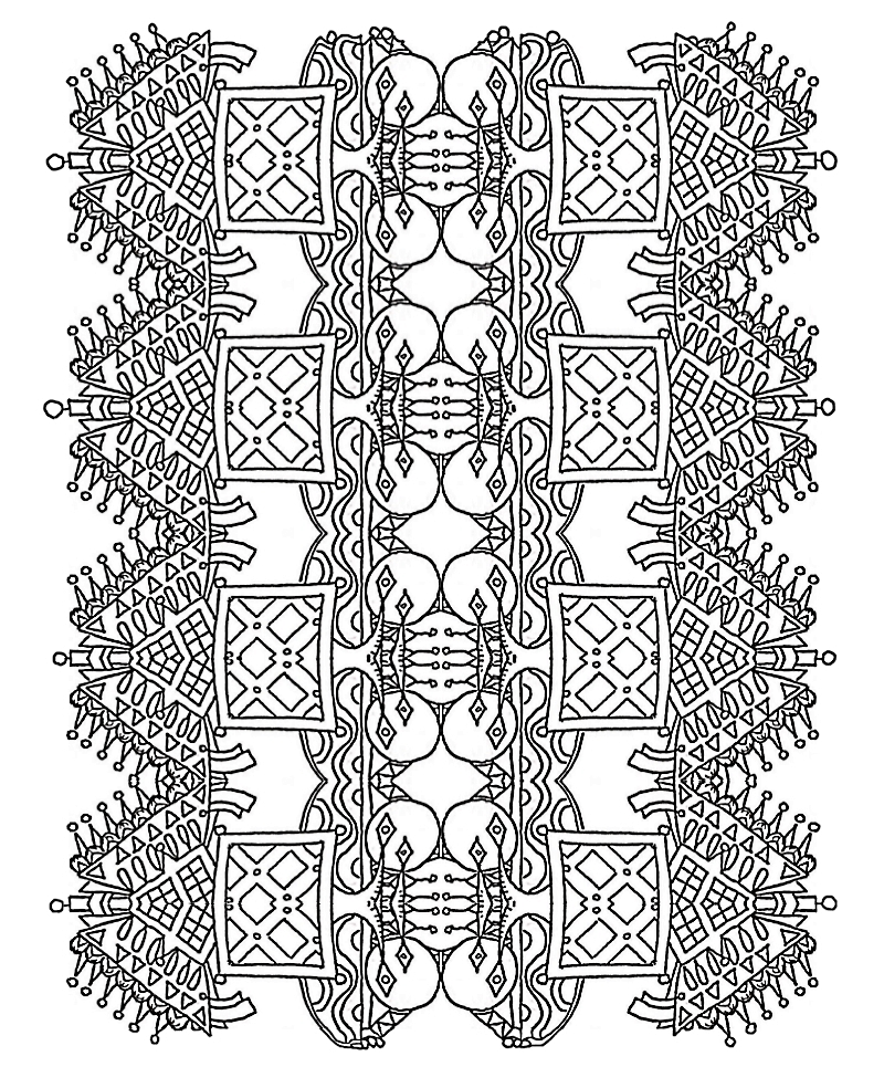 Detailed coloring sheet with unusual designs