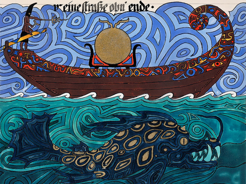 red book, solar barge. by carl jung