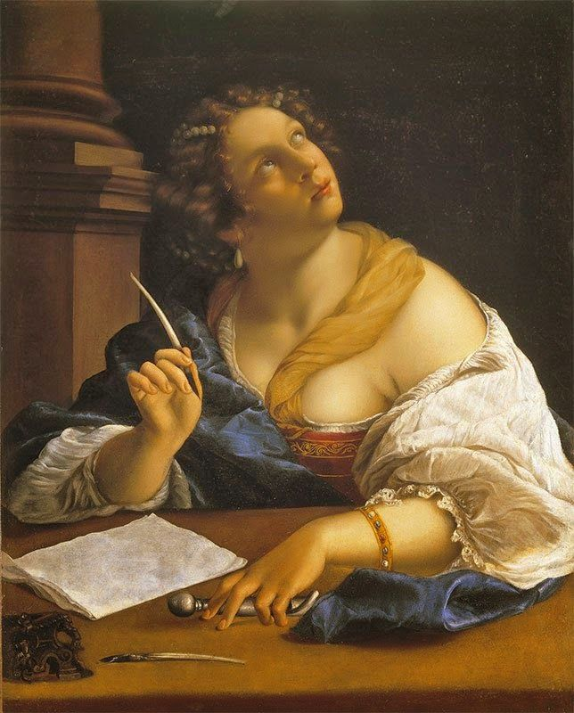Renaissance painting of woman using quill to journal