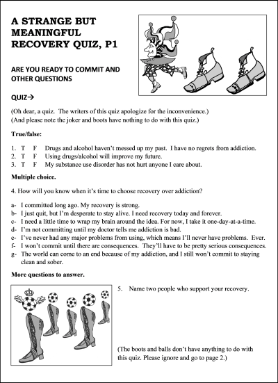 """first page of """"strange but meaningful recovery quiz"""""""