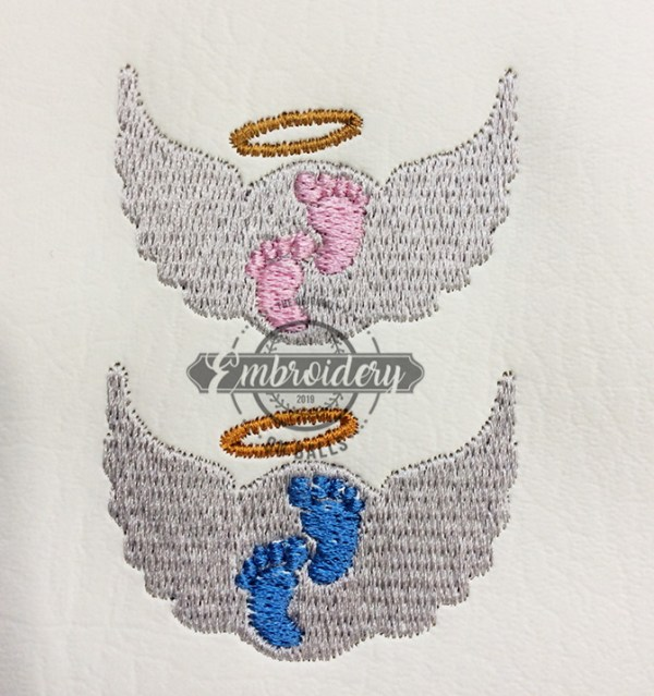 Baby Feet Wings Round Embroidery Design