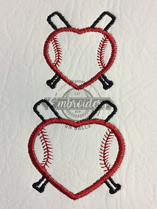 Stitched Heart with Bats Outline Embroidery Design