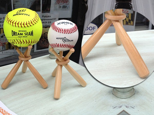 Wooden Baseball Softball Ball Display Stands - INDIVIDUAL