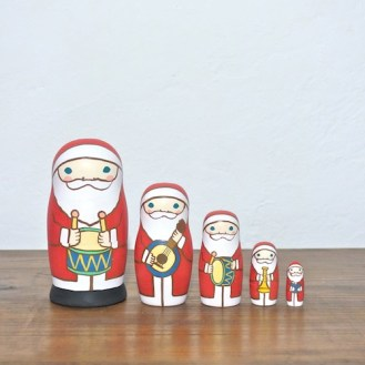 MM5-6 Matryoshka 5sets サンタ楽隊 Santa marching band  Size:11.5cm/Material: wood  ¥9,500+Tax