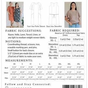 size chart Frankie dress and top sewing patterns
