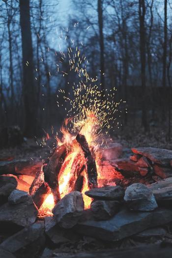 冬だってデイキャンプは焚き火があれば大丈夫です。寒さは感じません。炎の熱が心地よく伝わってきます。焚き火を囲んでゆっくり話すも良し、素材を活かした味覚を楽しむもまた良しです。