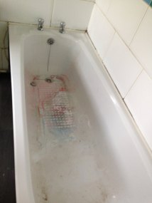 And I had to scrub this filthy bath clean!