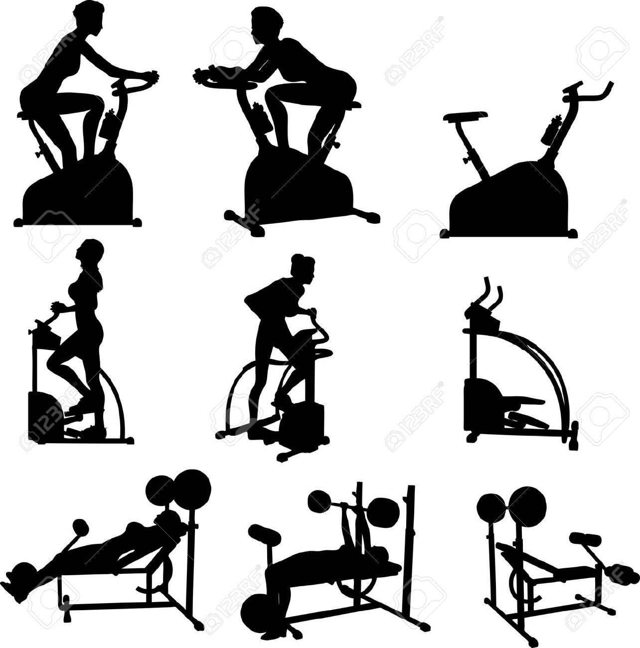 Female Excercise Silhouettes Gym Exercise Fitness