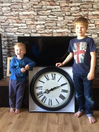 November 2016 - Choochie and Tadpole in their best B2TF3 pose with our new clock